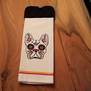 French Bulldog hanging dish towel